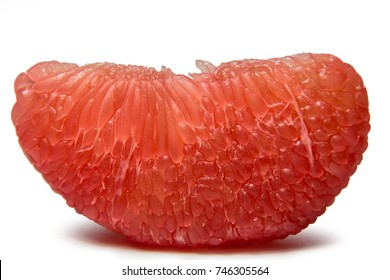 Red pomelo  isolated on white background, tropical fruit in thailand. red pomelo pulp  isolated . Thailand Siam ruby pomelo fruit. Natural source of vitamin C.