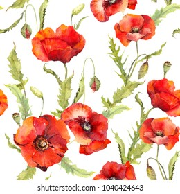Red poppies flowers, spring field. Seamless floral pattern. Watercolor