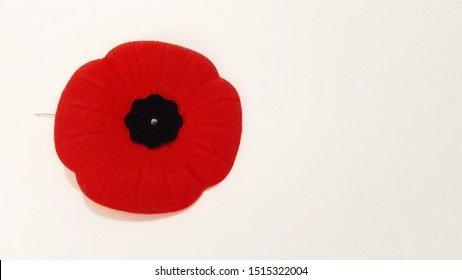 Red Poppy Pin on White Background.  Remembrance Day Poppy Flower Pin.