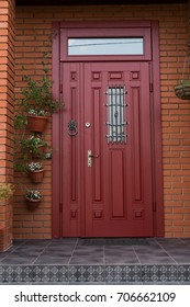 red porch entrance door