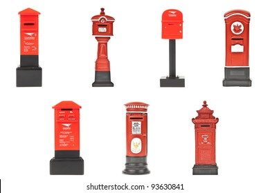 red post box collection in Thailand