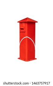 red post box,isolated on white background with clipping path.