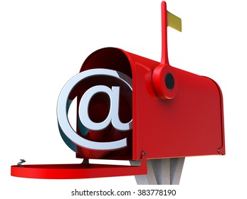 Red postbox with lyrics email symbol 3D rendering