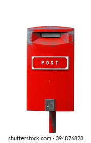 Red postbox with white lettering isolated on the white background