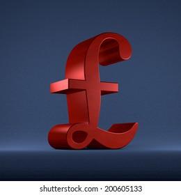 Red pound sterling sign on dark blue textured background