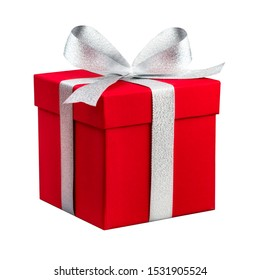 Red present box with silver ribbon isolated in front of white background