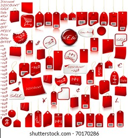 Red Price Tag Set  isolated on white