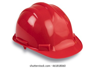 Red professional helmet on white, isolated.