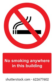 Red Prohibition Sign isolated on a white background -  No smoking anywhere in this building