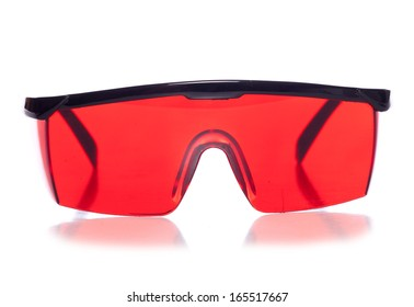 red protective shooting glasses studio cutout