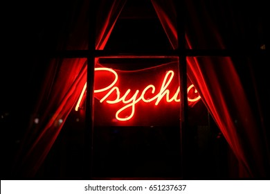 Red Psychic Sign Through Window