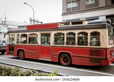Red public bus in Japan