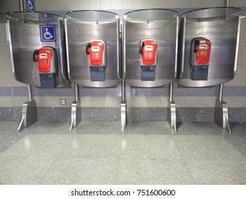 Red public telephone