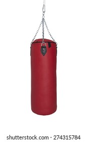 Red Punch Bag Isolated on White Background (file includes clipping path)