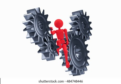 red puppet man is part of the mechanism gears. abstract illustration of 3D render object isolated on white background