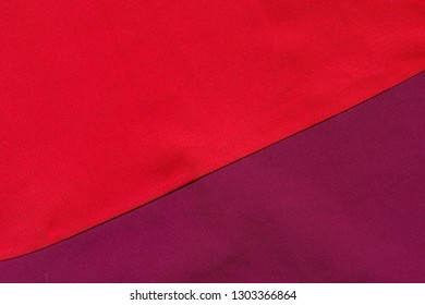 red and purple cloth sewed together with a diagonal background texture