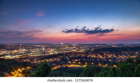 Red and Purple Sunset Over City of Stuttgart Germany on Summer Evening