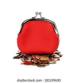 Red purse and coins  on white background