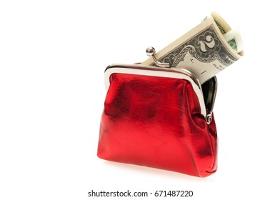Red purse with two dollar banknote isolated on white background