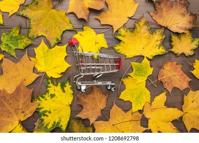 red pushcart and colorful autumn leaves over wooden background. fall sale season concept