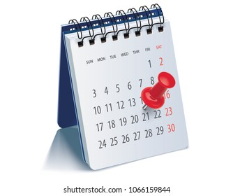 Red pushpin on calendar page for remind and marked important events. Realistic 3d illustration