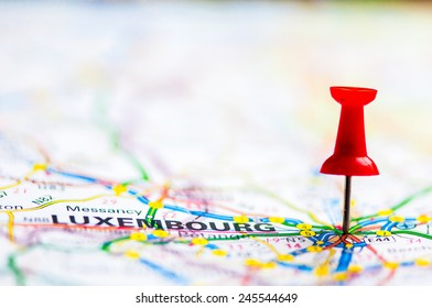 Red pushpin showing Luxembourg On Map, Travel Destination Concept