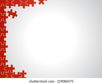 red puzzle borders illustration design over a white background
