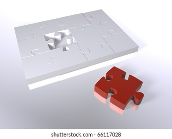 A red puzzle piece next to white pieces