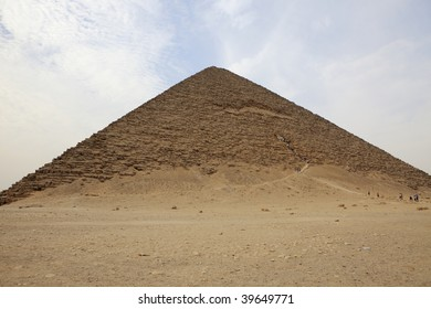 The red pyramid with tiny figures for scale - Dashur, Egypt.