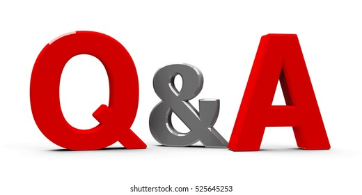Red Q&A - Questions and answers - symbol or icons isolated on white background, three-dimensional rendering, 3D illustration