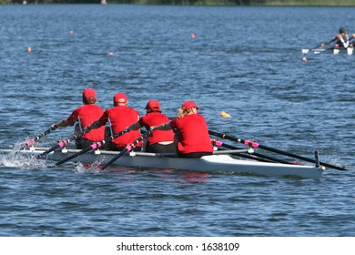 Red quad rowboat