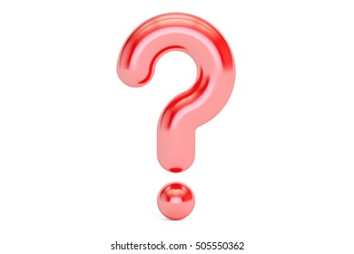 red question mark, 3D rendering isolated on white background