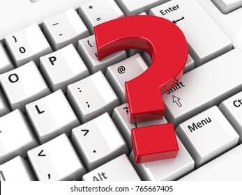Red Question mark icon on the computer keyboard background, three-dimensional rendering, 3D illustration