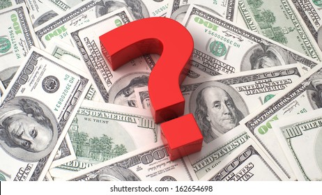Red question mark on the background of one hundred dollar bills