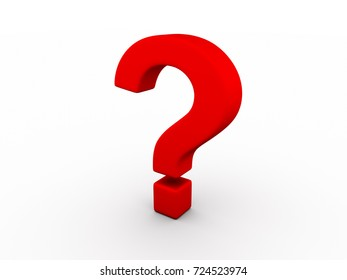 Red question mark sign on white background 3d rendering