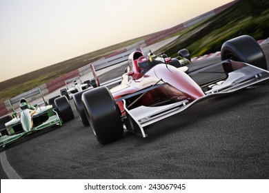Red race car close up front view on a track leading the pack with motion Blur. Room for text or copy space