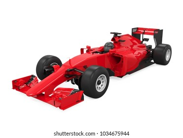 Red Race Car Isolated 3D Rendering