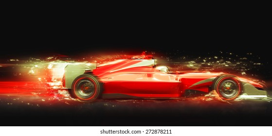 Red race car with light effect. Race car with no brand name is designed and modelled by myself