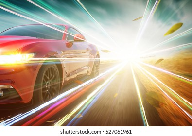 Red race car with light effect.
