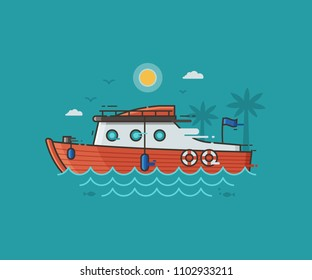 Red racing yacht on seaside background. Motor boat on water waves. Sport yachting concept illustration in flat design. Modern speedboat riding fast on seashore landscape.