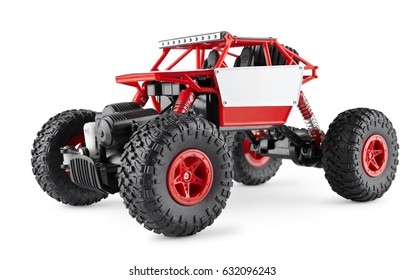 Red radio-controlled SUV, toy buggi for extreme, isolated on white background