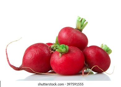 red radish is a bunch with green tail on a white isolated background