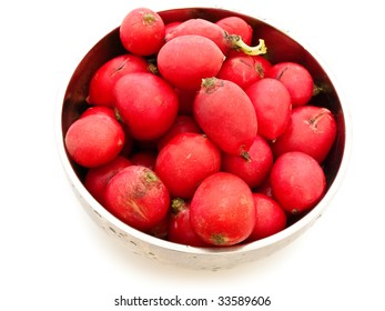red radish in the metallic bowl over white background