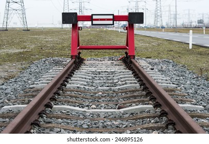 red railroad buffer end to destination in the europoort holland near rotterdam