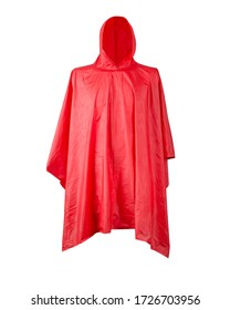 Red raincoat with hood on white background