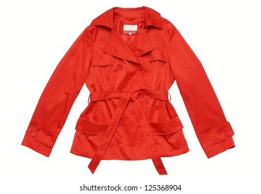 A red raincoat  is on white background.