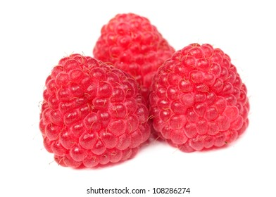 Red Raspberries Close-Up Isolated on White Background