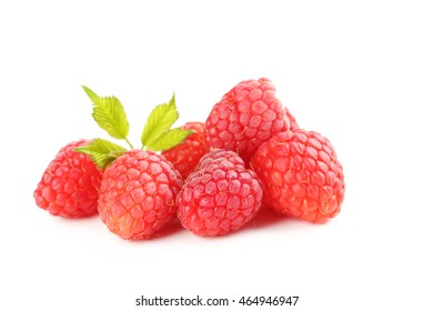 Red raspberries isolated on a white
