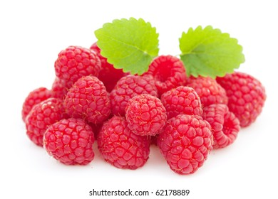 Red Raspberry berry isolated on white background