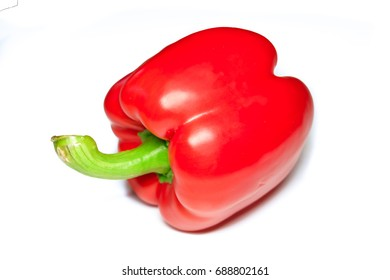 Red raw paprika,Capsicum annuum on white background